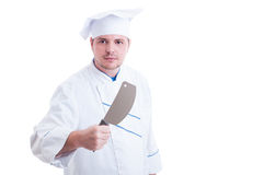 Chef or cook holding a big knife called cleaver. Isolated on white royalty free stock photography