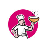 Chef Cook Holding Bowl Oval Cartoon Stock Photo