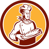 Chef Cook Holding Bread Woodcut Retro Royalty Free Stock Images