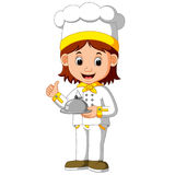 Chef cook holding dish. Illustration of chef cook holding dish Royalty Free Stock Images