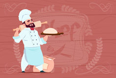 Chef Cook Holding Flour And Dough Smiling Cartoon Chief In White Restaurant Uniform Over Wooden Textured Background Royalty Free Stock Image
