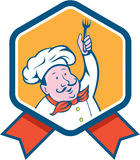 Chef Cook Holding Fork Ribbon Cartoon Royalty Free Stock Images