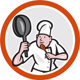 Chef Cook Holding Frying Pan Fighting Stance Cartoon. Illustration of a chef cook holding frying pan in kung fu fighting stance set inside circle on isolated Stock Photos