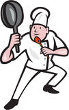 Chef Cook Holding Frying Pan Kung Fu Stance Cartoon. Illustration of a chef cook holding frying pan in kung fu fighting stance set inside circle on isolated Royalty Free Stock Images