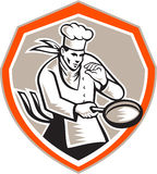 Chef Cook Holding Frying Pan Retro Royalty Free Stock Image