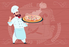 Chef Cook Holding Pizza Smiling Cartoon Chief In White Restaurant Uniform Over Wooden Textured Background. Chef Cook Holding Plate With Hot Soup Smiling Cartoon Stock Image