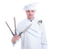 Chef or cook holding professional knives Stock Image