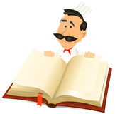Chef Cook Holding Recipes Book. Illustration of a cartoon chef cook character holding a white book for Royalty Free Stock Photography