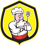 Chef Cook Holding Spatula Shield Cartoon Royalty Free Stock Photography