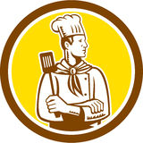 Chef Cook Holding Spatula Side View Circle Royalty Free Stock Photography