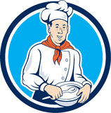 Chef Cook Holding Spoon Bowl Circle Cartoon Stock Photography