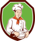 Chef Cook Holding Spoon Bowl Shield Cartoon Stock Image