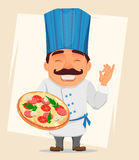 Chef Cook holding tasty pizza. Cute cartoon character, smiling cook in professional uniform and blue hat. Stock Photography