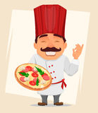 Chef Cook holding tasty pizza. Cute cartoon character, smiling cook in professional uniform and red hat Royalty Free Stock Photos