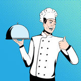 Chef cook holds a tray Royalty Free Stock Photos