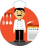 Chef cook on kitchen background in flat style. Chef cook man in uniform on kitchen background in flat style Stock Photos