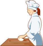 Chef Cook kneading dough. Vector illustration of a chef cook at work done in retro style Royalty Free Stock Images