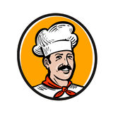 Chef, cook logo. Label or icon for design menu restaurant or catering. Vector illustration Royalty Free Stock Photography