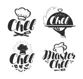Chef, cook logo or label. Illustration for design. Menu restaurant or cafe. Lettering vector isolated on white background Stock Photography