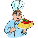 Chef cook with macaronis. And sauce. Vector illustration Royalty Free Illustration