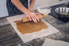 Chef cook making dough for a baking Stock Images