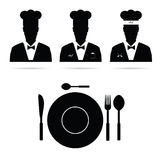 Chef cook man  silhouette Royalty Free Stock Photos