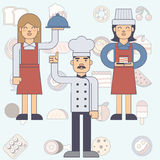 Chef cook man and woman, waitress Stock Photos