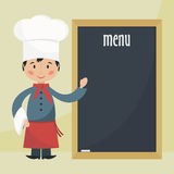 Chef cook with menu. Royalty Free Stock Photos