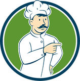 Chef Cook Mustache Pointing Circle Cartoon Stock Images