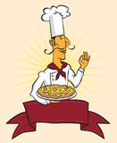 Chef cook okay pizza sign (vector) Stock Images