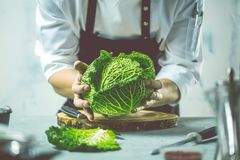 Chef prepares vegetables to cook in the restaurant kitchen. Chef cook preparing vegetables in his kitchen standing on the grey background holding a knife royalty free stock images