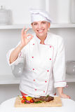 Chef-cook presenting meals Royalty Free Stock Photography