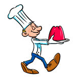 Chef cook presents jelly cartoon Stock Photography