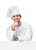Chef cook props head with hand Royalty Free Stock Photos