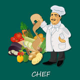 Chef cook with recipe and popular vegetables, banner, template Stock Photography