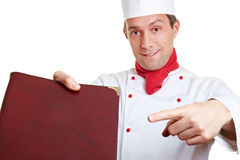 Chef cook recommending menu card Stock Image