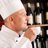 Chef cook relax coffee break restaurant Stock Photos