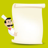 Chef Cook Restaurant Menu. Illustration of a chef cook restaurant poster background, with italian or french cook holding parchment paper, for food advertisement Stock Image