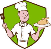 Chef Cook Roast Chicken Spatula Crest Cartoon Stock Images