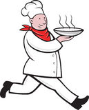 Chef cook running serving hot soup bowl Royalty Free Stock Photography