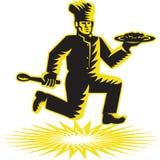 Chef Cook Serve Plate Running Retro Stock Photos