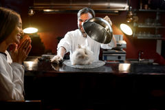 Chef cook serving alive rabbit Royalty Free Stock Photos