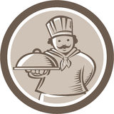 Chef Cook Serving Food Platter Circle Stock Photo