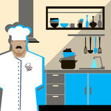 Chef Cook Serving Food Realistic Cartoon Character. Design Stock Photos