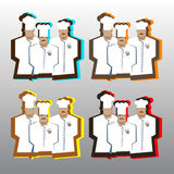 Chef Cook Serving Food Realistic Cartoon Character. Design Royalty Free Stock Image