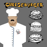Chef Cook Serving Food Realistic Cartoon Character. Design Stock Images
