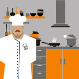 Chef Cook Serving Food Realistic Cartoon Character Design. Chef Cook Serving Food Realistic Cartoon Character Stock Image