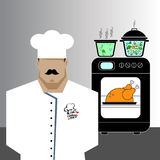 Chef Cook Serving Food Realistic Cartoon Character Design. Chef Cook Serving Food Realistic Cartoon Character Royalty Free Stock Images