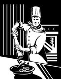 Chef Cook shaking a pepper mill Royalty Free Stock Photography