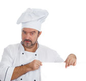 Chef cook showing at blank board Stock Photos